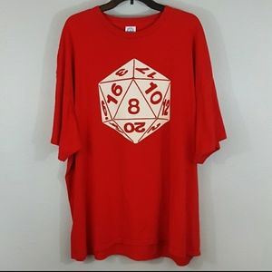 Red Twenty Sided Die Graphic Tee Shirt Size 3XL